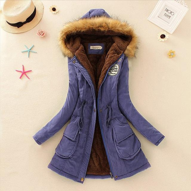 Women Faux Fur Collar Hooded Jacket-Royal Blue-XXL-JadeMoghul Inc.
