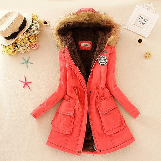 Women Faux Fur Collar Hooded Jacket-Watermelon-XXL-JadeMoghul Inc.