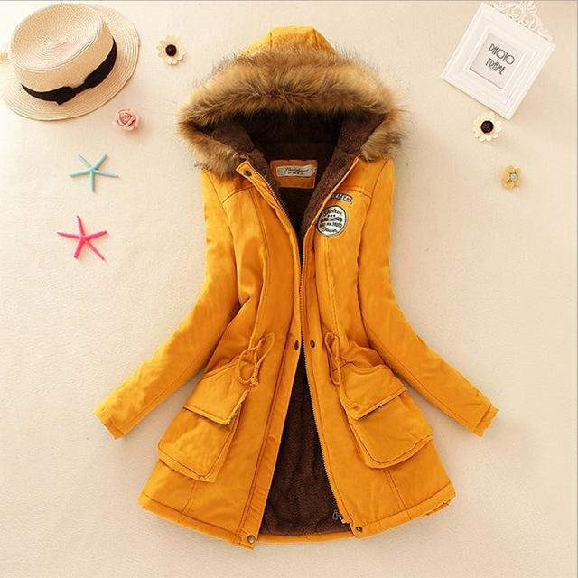 Women Faux Fur Collar Hooded Jacket-Yellow-XXL-JadeMoghul Inc.