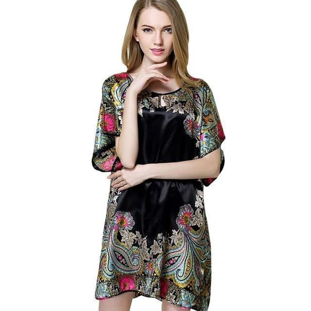 Women faux silk Printed Night Shirt-Black-XL-JadeMoghul Inc.