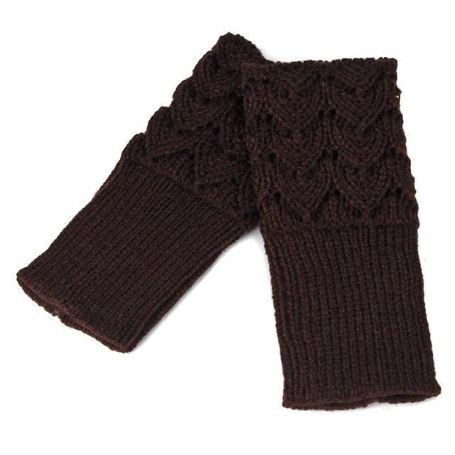 Women Finger Less Lace Knit Design Wool Gloves-Coffee-JadeMoghul Inc.