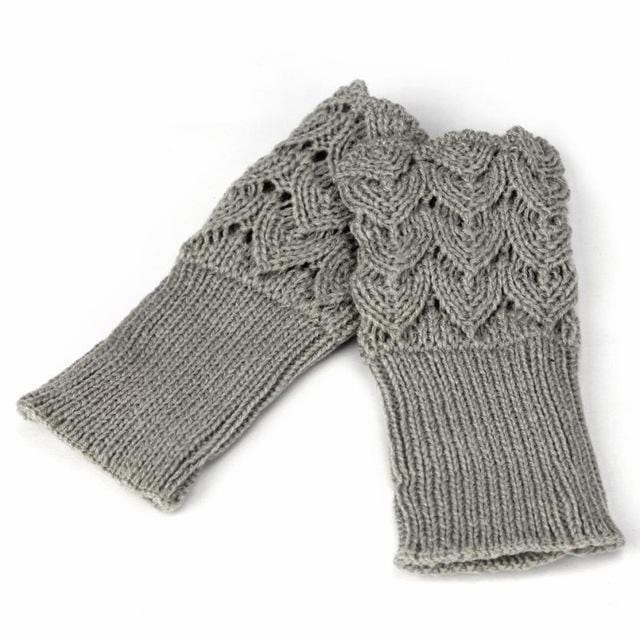 Women Finger Less Lace Knit Design Wool Gloves-Gray-JadeMoghul Inc.