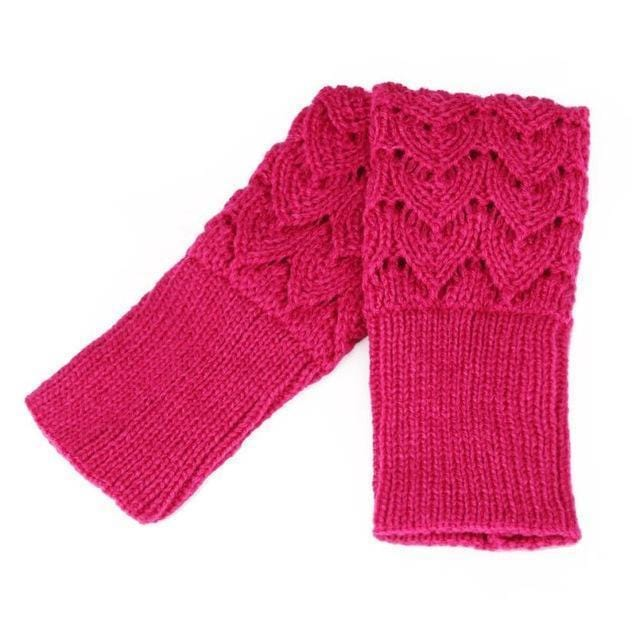 Women Finger Less Lace Knit Design Wool Gloves-Hot Pink-JadeMoghul Inc.
