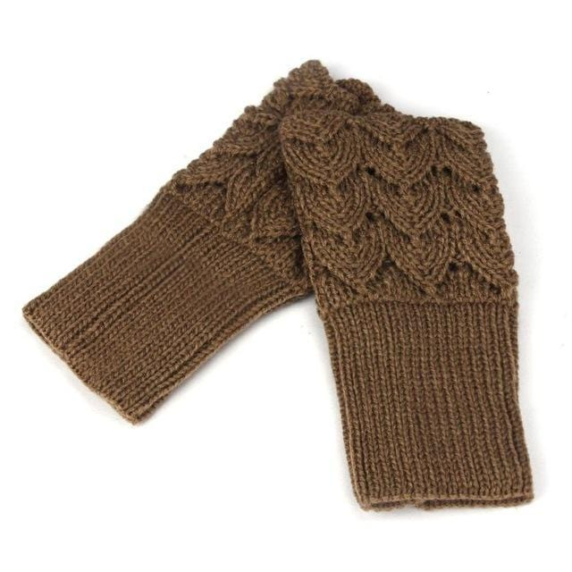 Women Finger Less Lace Knit Design Wool Gloves-Khaki-JadeMoghul Inc.