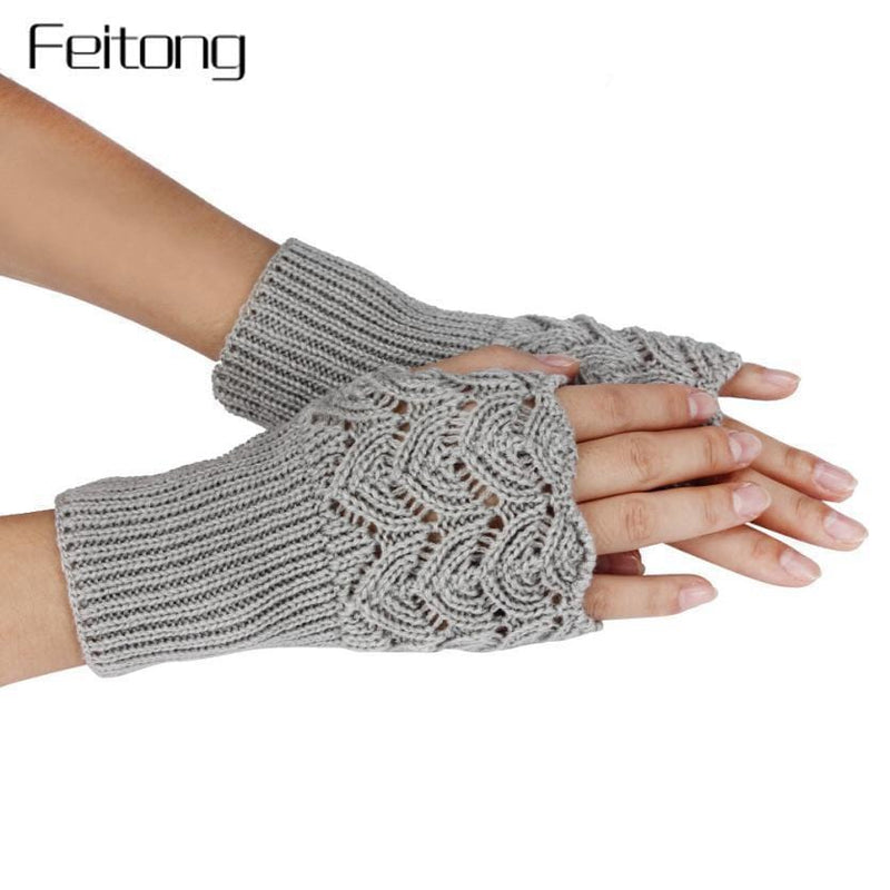 Women Finger Less Lace Knit Design Wool Gloves-Multi-JadeMoghul Inc.