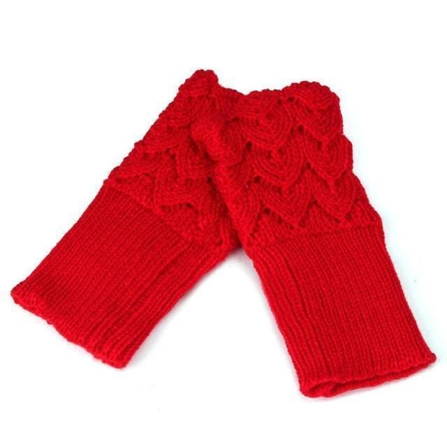 Women Finger Less Lace Knit Design Wool Gloves-Red-JadeMoghul Inc.