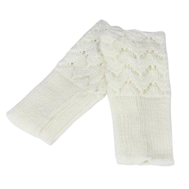 Women Finger Less Lace Knit Design Wool Gloves-White-JadeMoghul Inc.