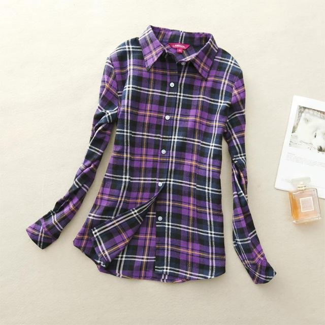 Women Flannel Plaid Button Down Shirt Tunic-901-M-JadeMoghul Inc.