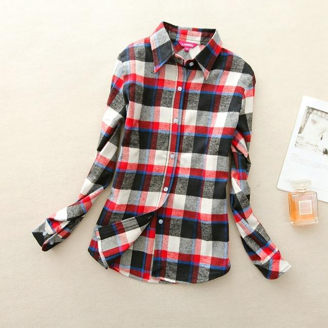 Women Flannel Plaid Button Down Shirt Tunic-903-L-JadeMoghul Inc.