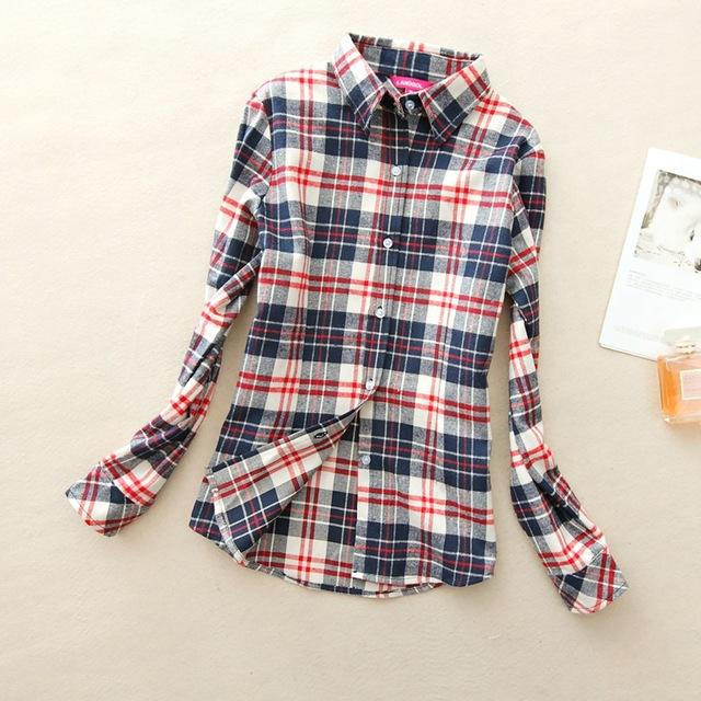 Women Flannel Plaid Button Down Shirt Tunic-904-M-JadeMoghul Inc.