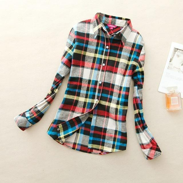 Women Flannel Plaid Button Down Shirt Tunic-905-M-JadeMoghul Inc.