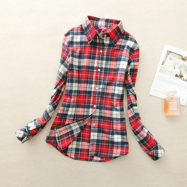 Women Flannel Plaid Button Down Shirt Tunic-908-L-JadeMoghul Inc.