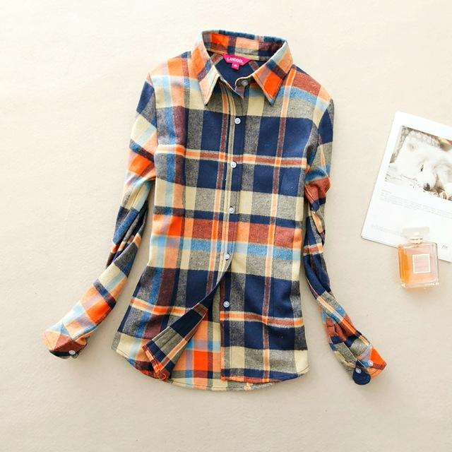 Women Flannel Plaid Button Down Shirt Tunic-910-L-JadeMoghul Inc.