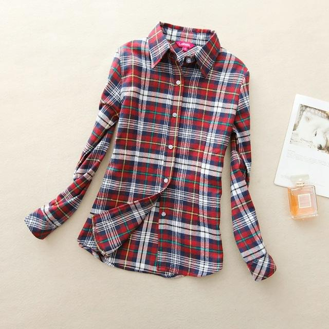 Women Flannel Plaid Button Down Shirt Tunic-912-L-JadeMoghul Inc.