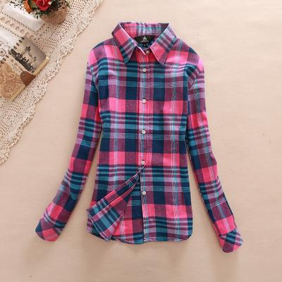 Women Flannel Plaid Button Down Shirt Tunic-913-M-JadeMoghul Inc.