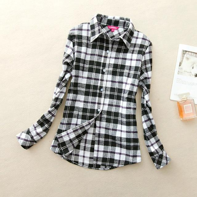 Women Flannel Plaid Button Down Shirt Tunic-915-M-JadeMoghul Inc.