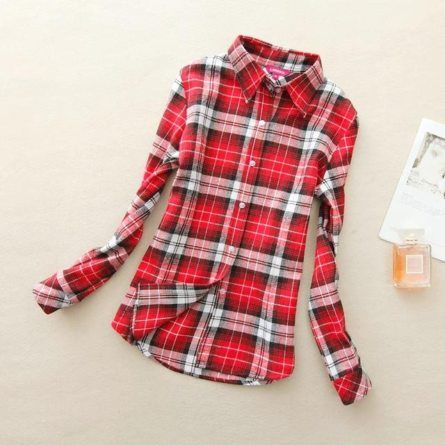 Women Flannel Plaid Button Down Shirt Tunic-917-L-JadeMoghul Inc.