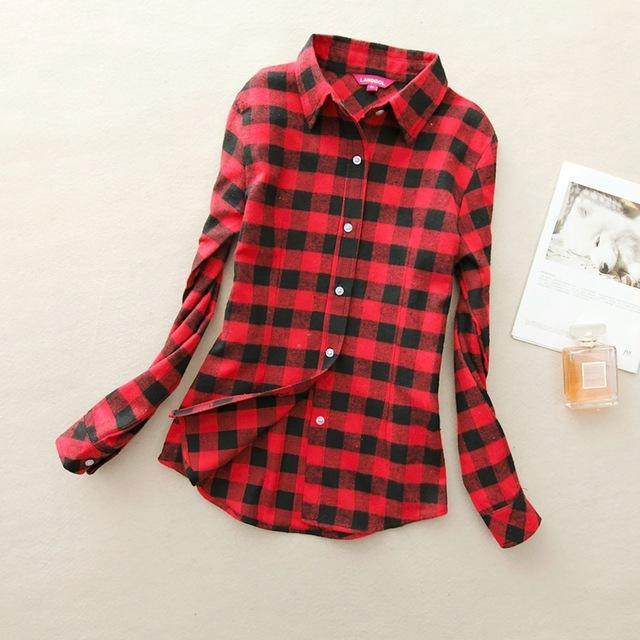 Women Flannel Plaid Button Down Shirt Tunic-919-M-JadeMoghul Inc.