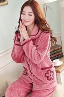 women flannel thick pajamas coral velvet home service long sleeved autumn and winter size winter warm suit lovely pyjamas women-1-L-JadeMoghul Inc.
