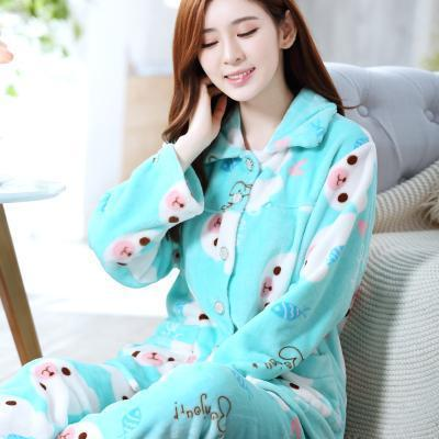 women flannel thick pajamas coral velvet home service long sleeved autumn and winter size winter warm suit lovely pyjamas women-11-L-JadeMoghul Inc.