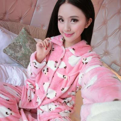 women flannel thick pajamas coral velvet home service long sleeved autumn and winter size winter warm suit lovely pyjamas women-12-L-JadeMoghul Inc.