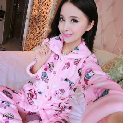 women flannel thick pajamas coral velvet home service long sleeved autumn and winter size winter warm suit lovely pyjamas women-14-L-JadeMoghul Inc.