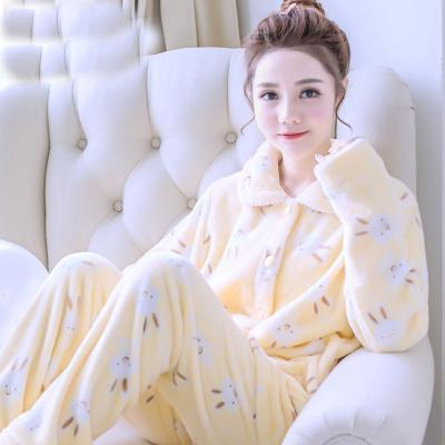 women flannel thick pajamas coral velvet home service long sleeved autumn and winter size winter warm suit lovely pyjamas women-15-L-JadeMoghul Inc.