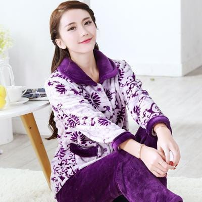 women flannel thick pajamas coral velvet home service long sleeved autumn and winter size winter warm suit lovely pyjamas women-17-L-JadeMoghul Inc.