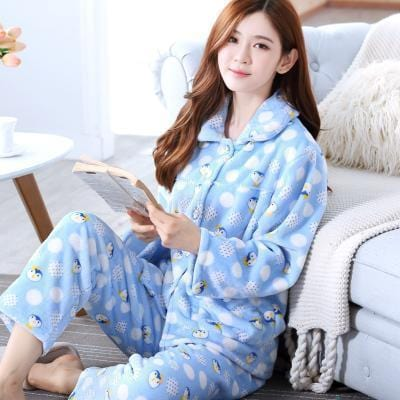 women flannel thick pajamas coral velvet home service long sleeved autumn and winter size winter warm suit lovely pyjamas women-20-M-JadeMoghul Inc.