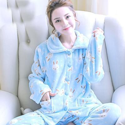 women flannel thick pajamas coral velvet home service long sleeved autumn and winter size winter warm suit lovely pyjamas women-21-M-JadeMoghul Inc.
