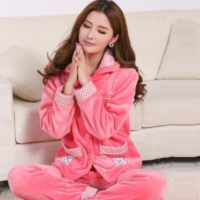 women flannel thick pajamas coral velvet home service long sleeved autumn and winter size winter warm suit lovely pyjamas women-22-M-JadeMoghul Inc.