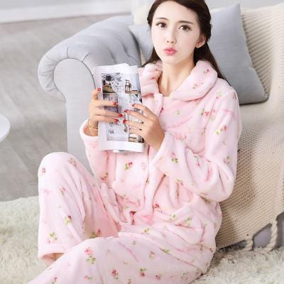 women flannel thick pajamas coral velvet home service long sleeved autumn and winter size winter warm suit lovely pyjamas women-24-M-JadeMoghul Inc.