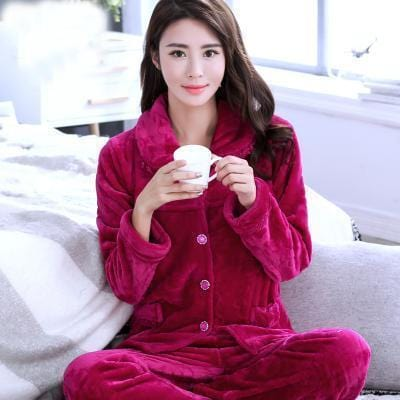 women flannel thick pajamas coral velvet home service long sleeved autumn and winter size winter warm suit lovely pyjamas women-25-M-JadeMoghul Inc.