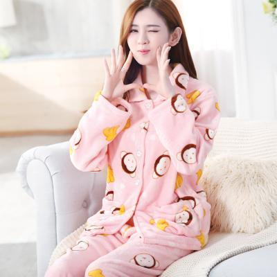 women flannel thick pajamas coral velvet home service long sleeved autumn and winter size winter warm suit lovely pyjamas women-3-L-JadeMoghul Inc.