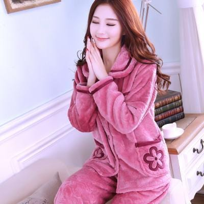 women flannel thick pajamas coral velvet home service long sleeved autumn and winter size winter warm suit lovely pyjamas women-5-L-JadeMoghul Inc.