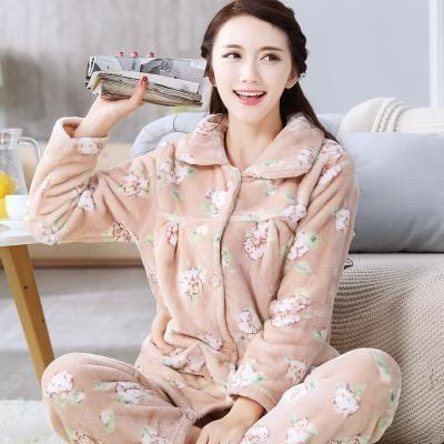 women flannel thick pajamas coral velvet home service long sleeved autumn and winter size winter warm suit lovely pyjamas women-7-L-JadeMoghul Inc.