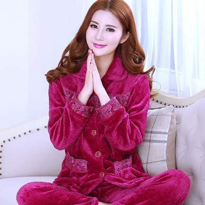 women flannel thick pajamas coral velvet home service long sleeved autumn and winter size winter warm suit lovely pyjamas women-9-L-JadeMoghul Inc.