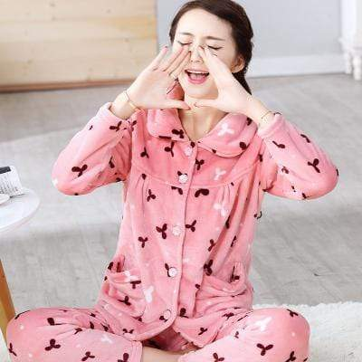 women flannel thick pajamas coral velvet home service long sleeved autumn and winter size winter warm suit lovely pyjamas women AExp