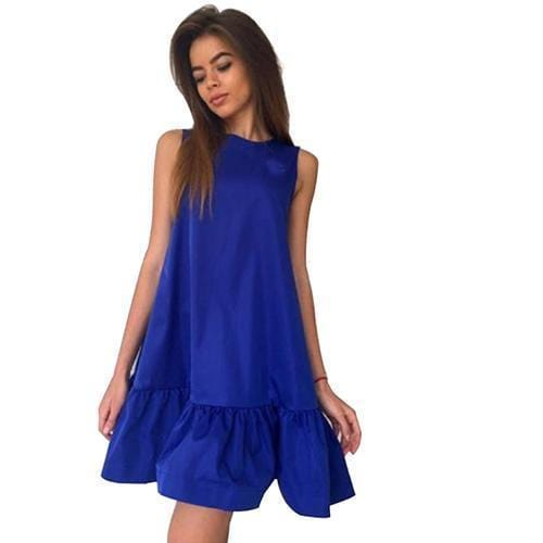 Women Flared Knee Length Summer Cotton Dress-Dark blue-S-JadeMoghul Inc.