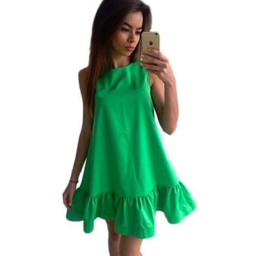 Women Flared Knee Length Summer Cotton Dress-Green-S-JadeMoghul Inc.