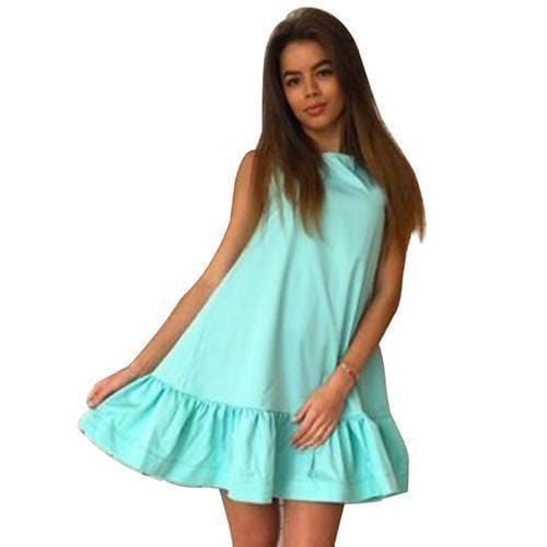 Women Flared Knee Length Summer Cotton Dress-Lake Blue-S-JadeMoghul Inc.