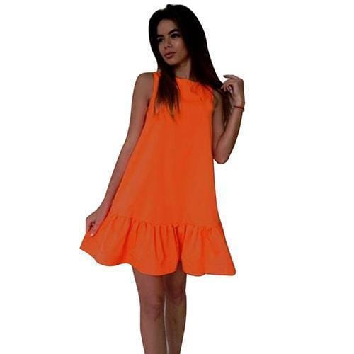 Women Flared Knee Length Summer Cotton Dress-Orange-S-JadeMoghul Inc.