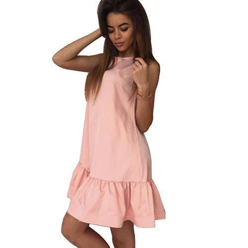 Women Flared Knee Length Summer Cotton Dress-Pink-S-JadeMoghul Inc.