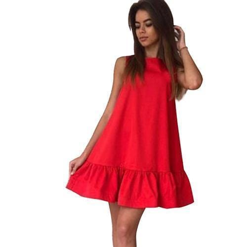 Women Flared Knee Length Summer Cotton Dress-Red-S-JadeMoghul Inc.