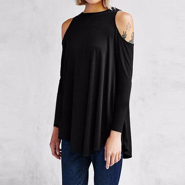 Women Flared Tunic Top With Cold Shoulder Detailing-Black-S-JadeMoghul Inc.