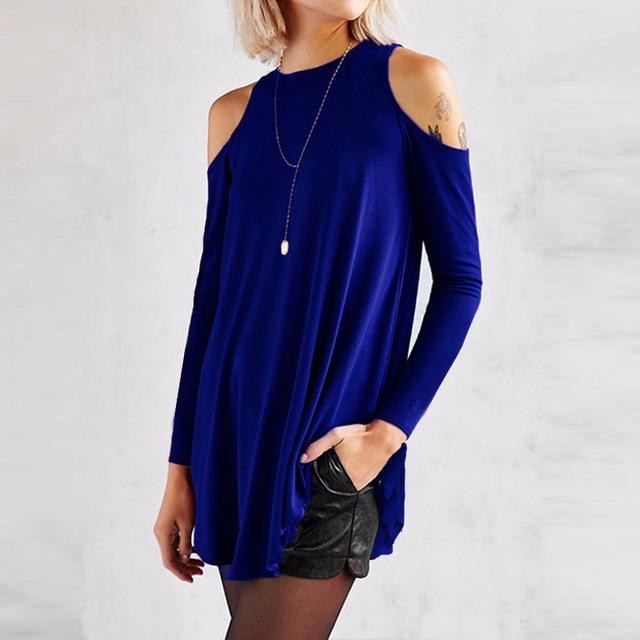 Women Flared Tunic Top With Cold Shoulder Detailing-Blue-S-JadeMoghul Inc.