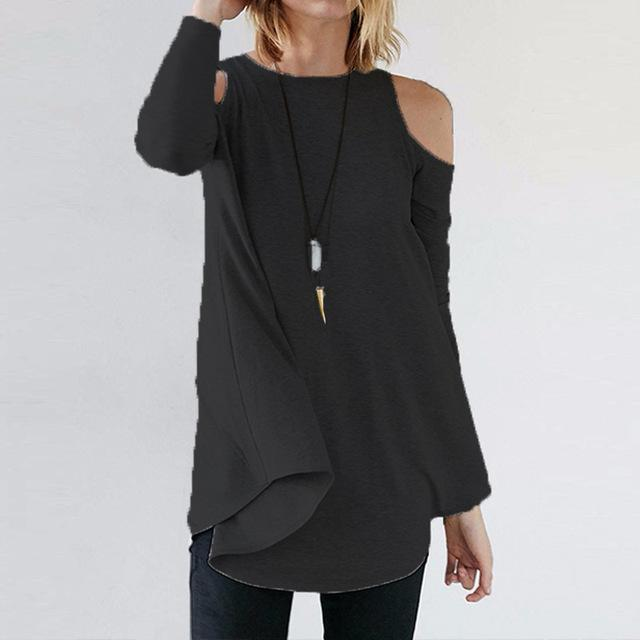 Women Flared Tunic Top With Cold Shoulder Detailing-Dark Grey-S-JadeMoghul Inc.