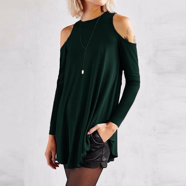 Women Flared Tunic Top With Cold Shoulder Detailing-Green-S-JadeMoghul Inc.
