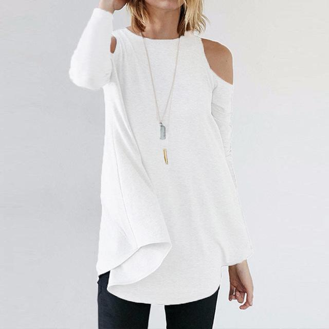 Women Flared Tunic Top With Cold Shoulder Detailing-Off White-S-JadeMoghul Inc.