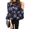 Women Floral Chiffon Blouse with flare Sleeves-Black-S-JadeMoghul Inc.